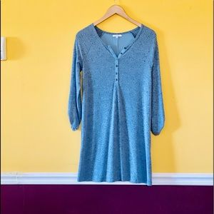 Long sleeve blue/black specks dress